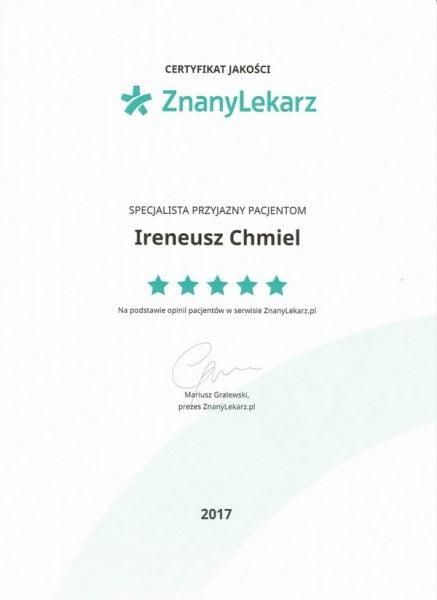 Certyfikat jakość 2017 znany lekarz-1