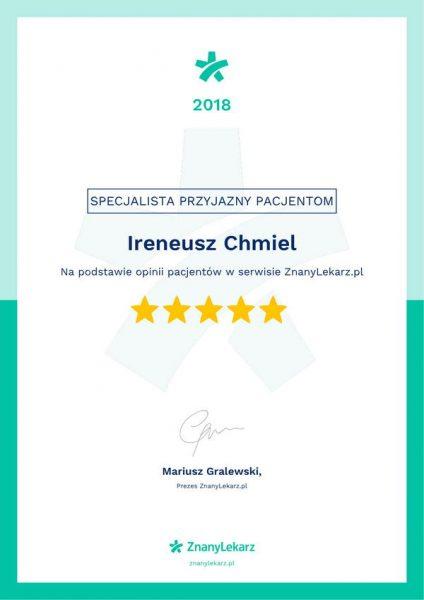 Certyfikat jakość 2018 znany lekarz